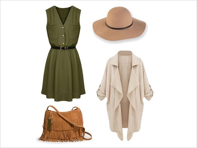 Combinacion de vestido verde y zapatos
