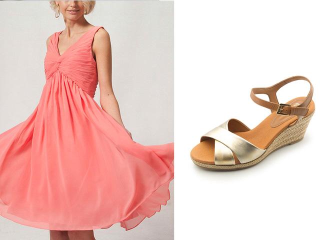 Vestidos coral cortos con zapatos