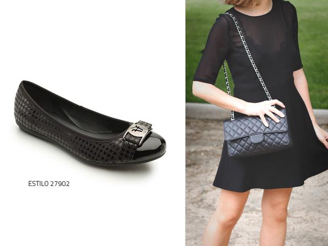 Vestido negro con zapatos miel