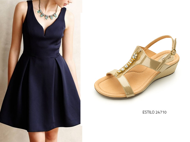Color de zapatos para combinar un vestido azul
