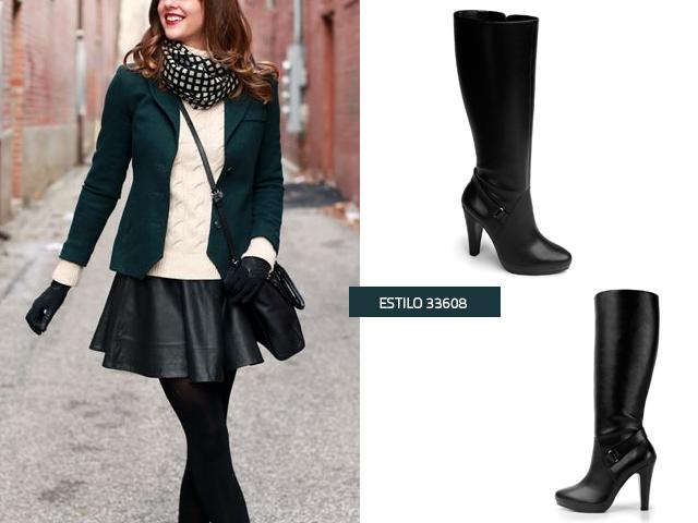 Combinar botas negras con vestido