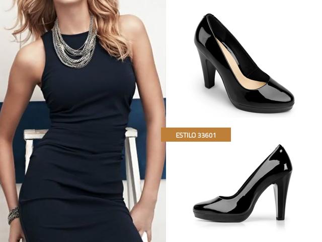Combinacion vestido negro con plateado
