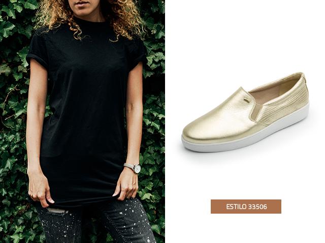 El negro en las prendas y el dorado en los zapatos son una combinación  electrizante
