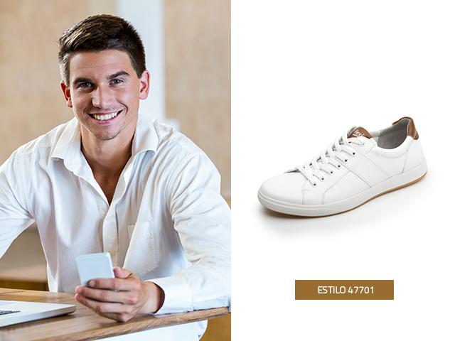 Los tenis blancos van a la perfección con la moda para hombres.