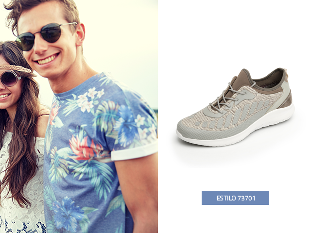 Estos sneakers gris con una playera de estampados hawaianos, son la idea de outfits que estabas buscando.
