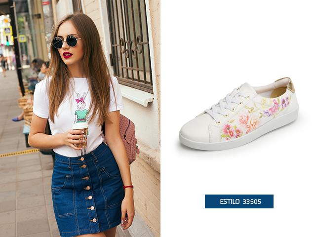 El estampado con flores hace de este modelo unos zapatos tenis de moda ideales para ti