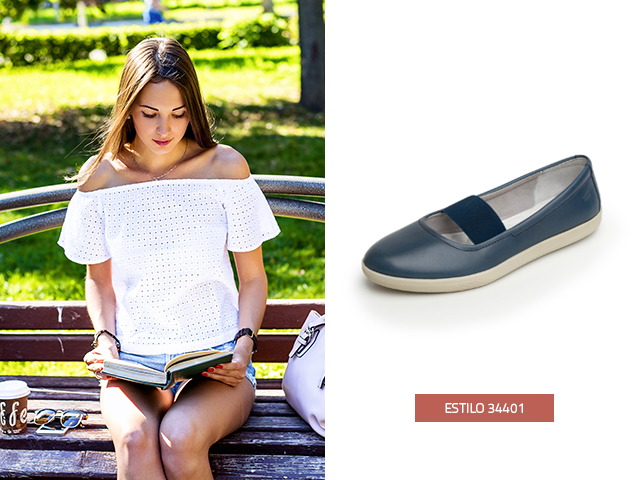 Flexi pensando en tu comodidad diseño estos zapatos de mujer de piso estilo Maryjane, confeccionados en piel color azul, te verás relajada todo el día