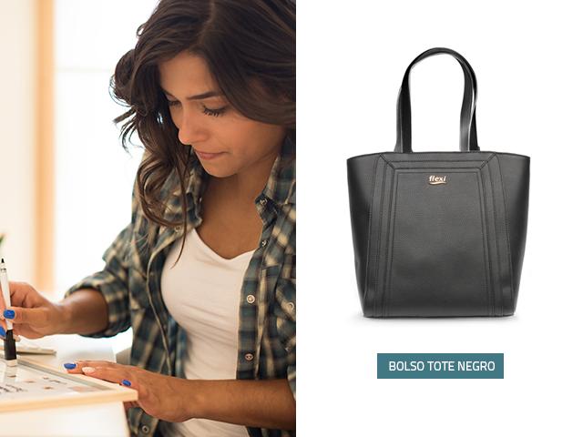 Si buscas bolsos de moda, en Flexi encontrarás este modelo en color negro y con gran capacidad para guardar tus objetos personales, es un diseño elegante y puedes combinarlo casi con cualquier atuendo