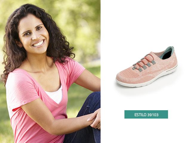 Sneaker tejido agujetas rosa Flexi