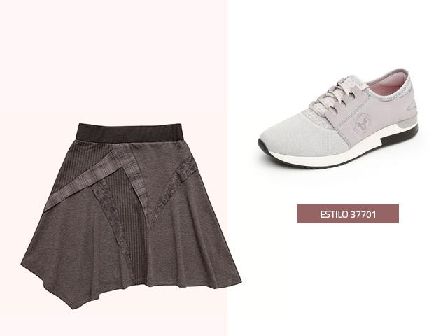 Sneaker tres texturas gris Flexi
