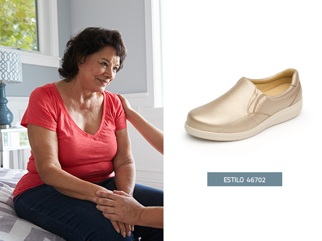 Zapato apto diabetico oro Flexi