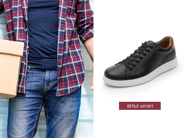 Sneaker urbano clasico negro Flexi
