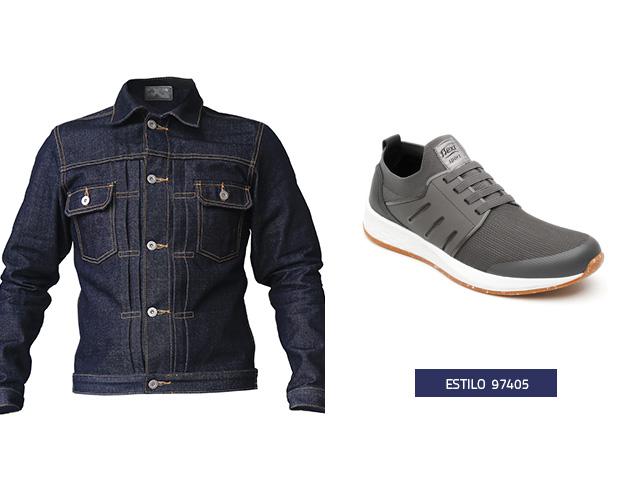 Sneaker agujetas elasticas gris Flexi