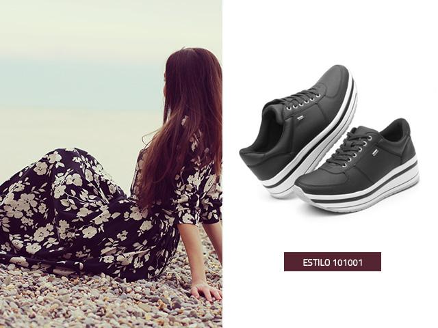 Sneaker suela creeper para vestidos largos