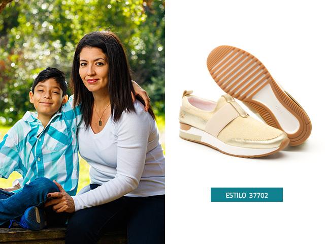 Sneakers tres texuras Oro Flexi