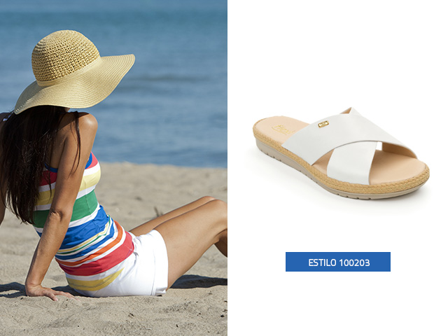 Sandalia slip on cruzada blanco Flexi