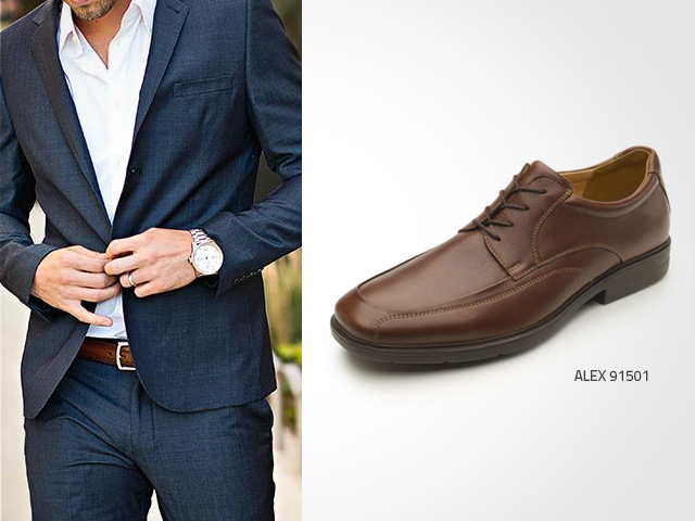Navy Blue. Is one of the best brown shoes combinations you can wish for. Leather color adds formality and attitude to the outfit.